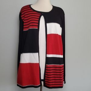 Alfred Dunner Black Red Cardigan Sweater Top Shirt